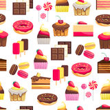 Seamless pattern with sweet dessert objects Royalty Free Stock Photo