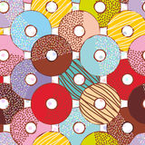 Seamless pattern Sweet donuts set with icing and sprinkles isolated  Stock Photos