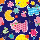 Seamless pattern - sweet dreams - cat, mouse. Stars and moon are made of fabric  - childish background Royalty Free Stock Images