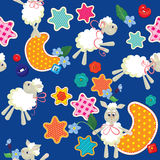 Seamless pattern - sweet dreams - sheep toys, stars Stock Image