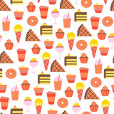 Seamless Pattern with Sweet Food Icons Stock Photography