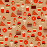 Seamless Pattern with Sweet Food Icons Royalty Free Stock Photos