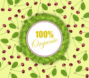 Seamless pattern sweet fresh cherry with green leaf and circle banner and 100% organic. Close Vector Illustration