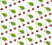Seamless pattern sweet fresh cherry with green leaf isolated Stock Photo