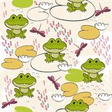 Seamless pattern. Sweet seamless pattern with frogs and dragonflies Royalty Free Stock Images