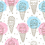 Seamless pattern with sweet ice cream Royalty Free Stock Photo