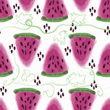 Seamless pattern of sweet juicy pieces watermelon watercolor Stock Photography