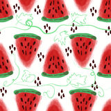 Seamless pattern of sweet juicy pieces watermelon watercolor wit Stock Photos