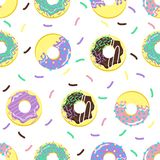 Seamless pattern with sweet donuts - vector illustration, eps stock illustration