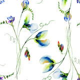 Seamless pattern with Sweet pea flowers Stock Images
