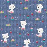 Seamless pattern. Sweet white kitten Royalty Free Stock Image