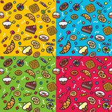 Seamless pattern: Sweets. Seamles pattern with sweets on four different backgrounds Royalty Free Stock Photos