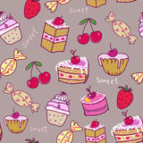 Seamless pattern with sweets. Royalty Free Stock Image