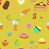 Seamless pattern sweets cake ice-cream tea Royalty Free Stock Image