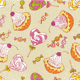 Seamless pattern - sweets (cakes and candy). Seamless vector pattern - sweets (cakes and candy Stock Images