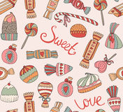 Seamless pattern with sweets and cakes. Vector seamless pattern with sweets and cakes Stock Photography