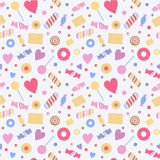 Seamless pattern with sweets, confectionery Stock Photo
