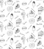 Seamless pattern, sweets and cookies icons, cupcake, macaron, ic Royalty Free Stock Photos