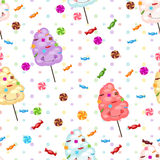 Seamless pattern of sweets, cotton candy, lollipops. Royalty Free Stock Image