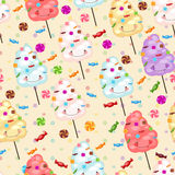 Seamless pattern of sweets, cotton candy, lollipops Royalty Free Stock Image