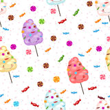 Seamless pattern of sweets, cotton candy, lollipops, little star Stock Image