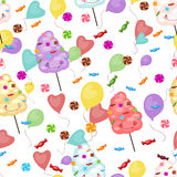 Seamless pattern of sweets, cotton candy, lollipops Stock Photography