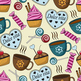 Seamless pattern with sweets and cups Stock Image