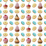 Seamless pattern. Sweets different colors and shapes on a white background isolation. Royalty Free Stock Photography