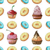 Seamless pattern. Sweets different colors and shapes on a white background isolation. Pattern with sweets. Confection hand drawn m Stock Image