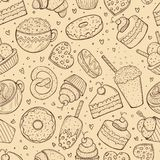 Seamless pattern, sweets doodle sketch Stock Photo