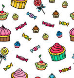 Seamless pattern with sweets elements isolated on white Royalty Free Stock Images