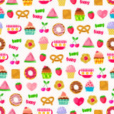 Sweet pattern. Seamless pattern with sweets, fruit and other cute things. Pattern swatch included in the file Stock Images