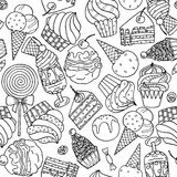 Seamless pattern with sweets and ice cream vector illustration
