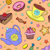 Seamless pattern with sweets, teapot and cup Stock Images