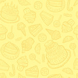 Seamless pattern with sweets on a yellow background. Stock Photo
