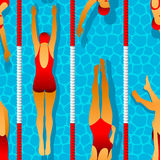 Seamless pattern of swimmers women in the pool. Effect of caustic water. Illustration in art deco style. Seamless pattern of swimmers women in the pool. Effect Stock Images