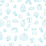 Seamless pattern of swimming goods for kids on white background. Vector icons Illustration. Royalty Free Stock Photo