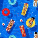 Seamless pattern with swimming pool illustration. Seamless pattern with top view swimming pool illustration of young women floating on water on rubber rings and stock illustration