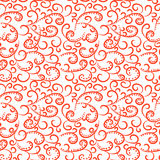 Seamless pattern with swirl red elements on white. Stock Images
