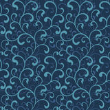 Seamless pattern of swirls on a dark blue background. Sea style. Ideal for textile and wallpapers Royalty Free Stock Photo