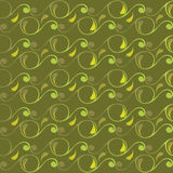 Seamless pattern with swirls and leaves Royalty Free Stock Image
