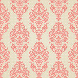 Seamless pattern with swirls. Vector seamless pattern with swirls and floral motifs in retro style. Victorian background of light pink color. It can be used for Royalty Free Stock Image