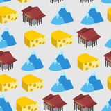 Seamless pattern of Switzerland. Bank and cheese Royalty Free Stock Image
