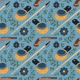 Seamless pattern with swords, epaulettes, pistols and medals Royalty Free Stock Image