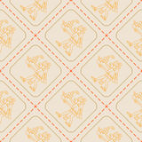 Seamless pattern with symbols from Aztec codices Royalty Free Stock Photo