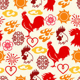 Seamless pattern with symbols of 2017 by Chinese calendar.  Royalty Free Stock Photography