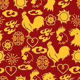 Seamless pattern with symbols of 2017 by Chinese calendar Royalty Free Stock Photos