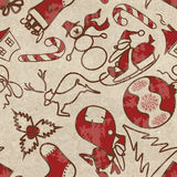 Seamless pattern with symbols of Christmas Royalty Free Stock Photos