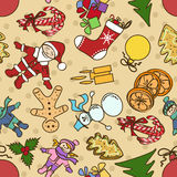 Seamless pattern with symbols of Christmas and New Stock Photos