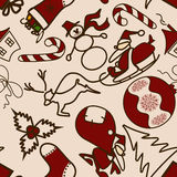 Seamless pattern with symbols of Christmas and New Royalty Free Stock Photos